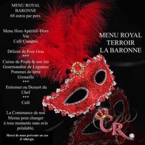 Dîner spectacle VAR Menu la baronne du Cabaret la cour royale à Hyeres dans le Var